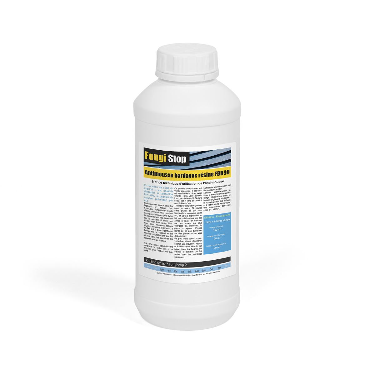Produit Nettoyage Bardage Pvc anti-mousse façade bardages résine, ultra concentré fbr90 - 1 litre